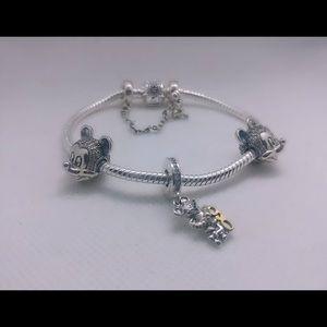 Jewelry - European silver bracelet + 3 charms set
